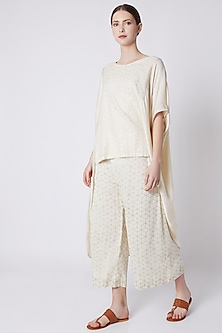 White Foil Printed Top by EZRA