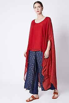Red Flowy Printed Top by EZRA