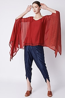 Electric Blue Draped Pants by EZRA