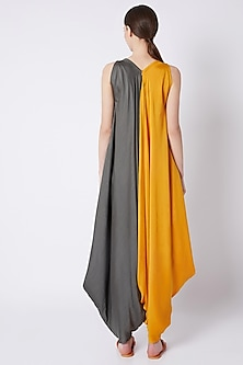 Mustard Color Blocked Jumpsuit by EZRA