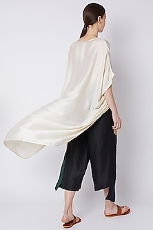 Multi Colored Linen Satin Loose Pants by EZRA