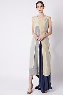 Nude & Electric Blue Long Dress by EZRA
