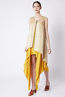 Beige Double Layered Top With Asymmetric Hemline by EZRA