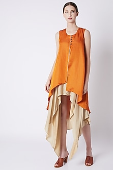 Mustard Double Layered Top With Asymmetric Hemline by EZRA