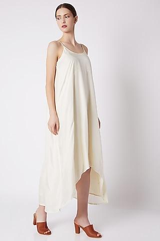 Nude Dress With Uneven Hemline by EZRA