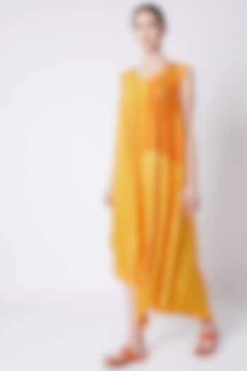 Yellow Flowy & Draped Dress by EZRA
