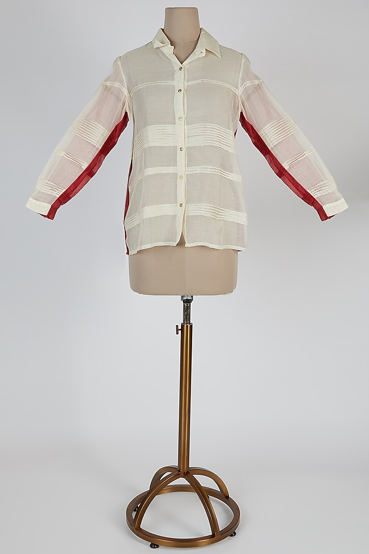 Off White Striped Shirt by EZRA