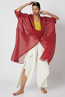 Red Draped Sheer Jacket by EZRA-POPULAR PRODUCTS AT STORE