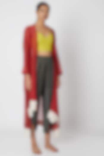 Grey Box Cut Cropped Pants by EZRA