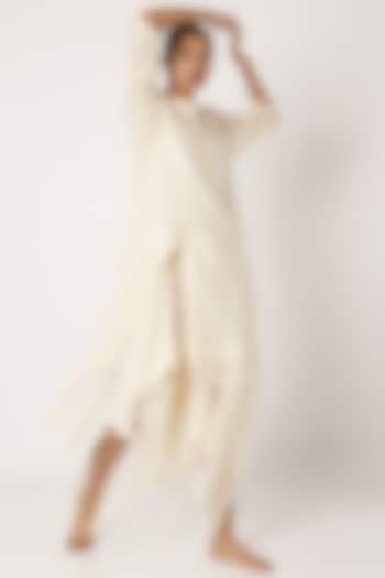 Nude Chinese Collared Kurta by EZRA