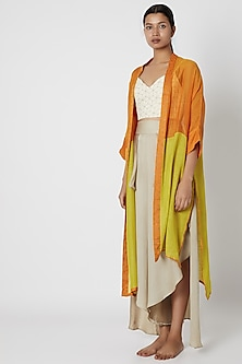 Lime Color Blocked Jacket by EZRA-POPULAR PRODUCTS AT STORE