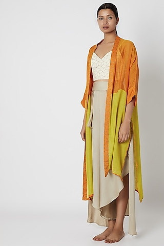 Lime Color Blocked Jacket by EZRA