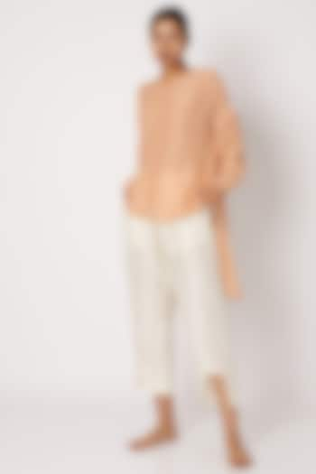 Blush Pink Shirt With Draping Sleeves by EZRA