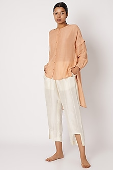 Blush Pink Shirt With Draping Sleeves by EZRA-POPULAR PRODUCTS AT STORE