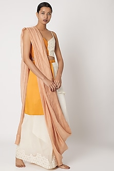 Nude Half Saree With Waist Opening by EZRA-POPULAR PRODUCTS AT STORE