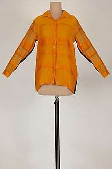 Orange Shirt With Pintucks by EZRA