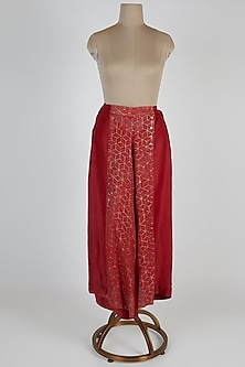 Brick Red Color Blocked Pants by EZRA