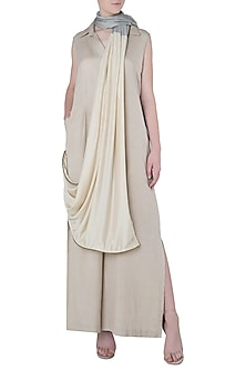 Beige Jumpsuit with Attached Dupatta by EZRA