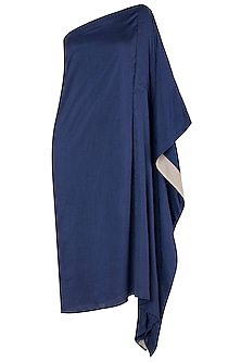 Royal Blue Asymmetrical One Shoulder Dress by EZRA
