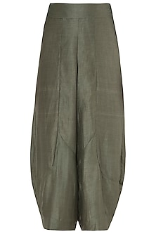 Olive Green Drape Culottes by EZRA