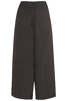 Dark Grey Side Pleated Pants by EZRA