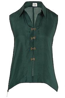 Emerald Green Front Open Shirt by EZRA
