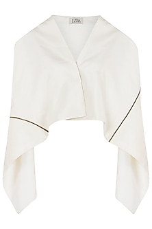 Ivory Asymmetrical Square Jacket by EZRA