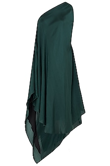 Emerald Green Asymmetrical One Shoulder Dress by EZRA