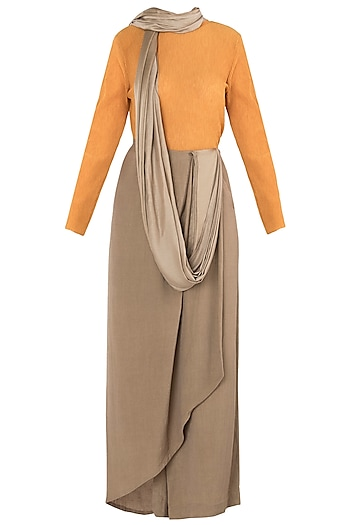 Bronze and Orange Asymmetrical Drape Knot Saree by EZRA