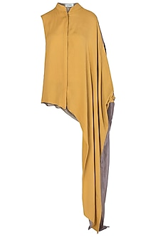 Yellow One Sided Drape Shirt by EZRA