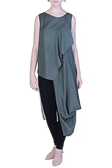 Moss Green Drape Cowl Top by EZRA