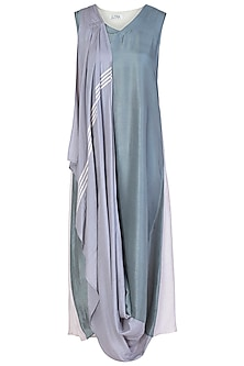 Dusky Blue Embellished Maxi Dress by EZRA