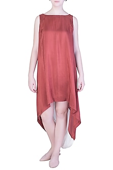 Rust Red Cowl Back Dress by EZRA