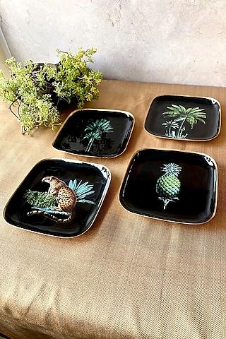 Black Amazonia Night Square Quarter Plates (Set of 4) by Faaya Gifting