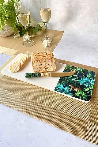 Black Amazonia Night Cheeseboard With Cheese Knife by Faaya Gifting