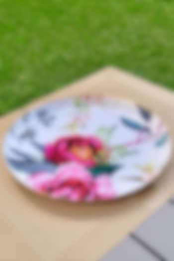 White Tudor Blooms Round Serving Tray by Faaya Gifting