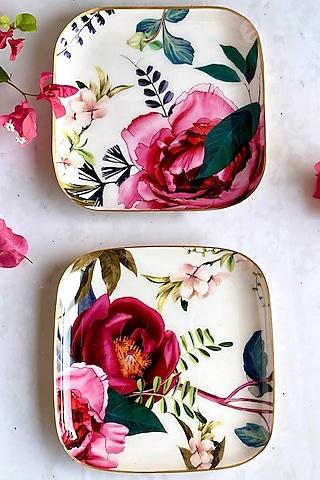 White Tudor Blooms Square Quarter Plates (Set of 4) by Faaya Gifting