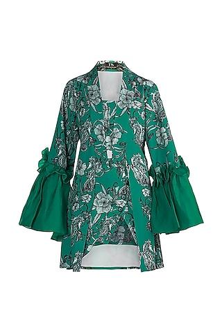 Teal Green Printed Robe With Tube Top & Skirt by Farah Sanjana