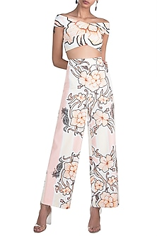 Peach & Lemon Yellow Printed Off Shoulder Crop Top With Trouser Pants by Farah Sanjana