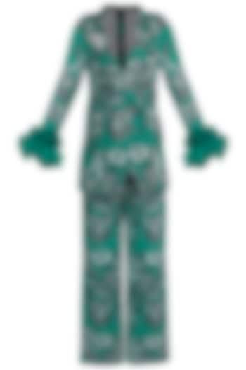 Teal Green Printed Blazer With Trouser Pants by Farah Sanjana