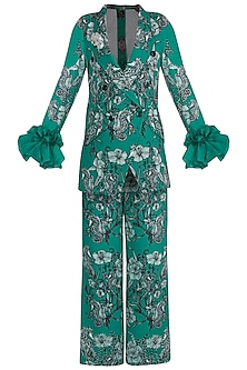 Teal Green Printed Blazer With Trouser Pants by Farah Sanjana