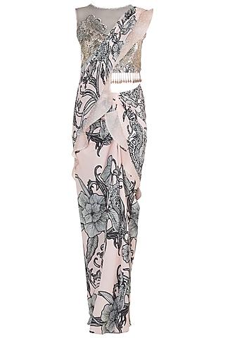 Pale Pink Printed Embroidered Stitched Saree Set by Farah Sanjana