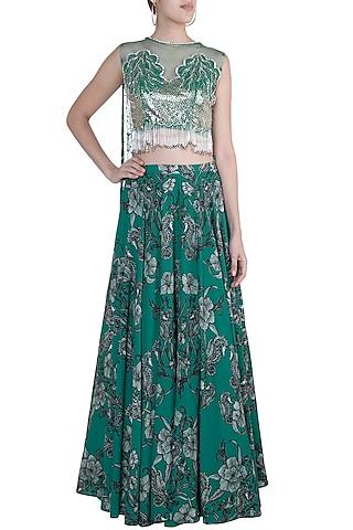 Teal Green Printed Lehenga Skirt With Embellished Blouse by Farah Sanjana