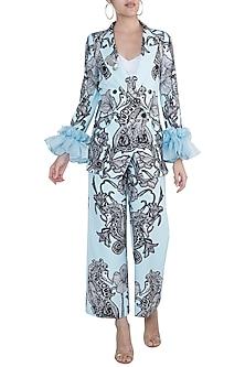 Powder Blue Printed Blazer With Trouser Pants by Farah Sanjana