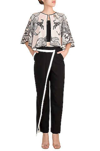 Pale Pink Cape With Black Tube Top & Trouser Pants by Farah Sanjana