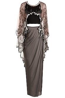 Pale Pink Printed Cape With Black Tube & Grey Drape Dhoti by Farah Sanjana