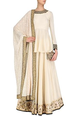 Ivory Embroidered Peplum Top and Lehenga Skirt Set by Faabiiana