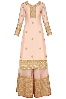 Peach Embroidered Kurta and Sharara Set by Faabiiana