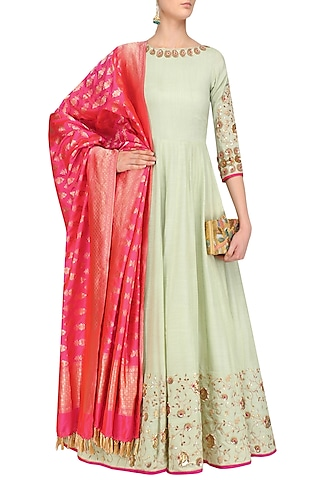 Pista Green Embroidered Anarkali Set by Faabiiana