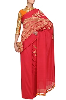 Red Banarasi Saree with Stitched Rust Orange Blouse by Faabiiana
